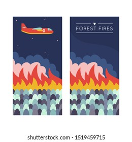 Forest fire. Banner illustration template for web and print. Emergency scene with airplane over the wildfire.