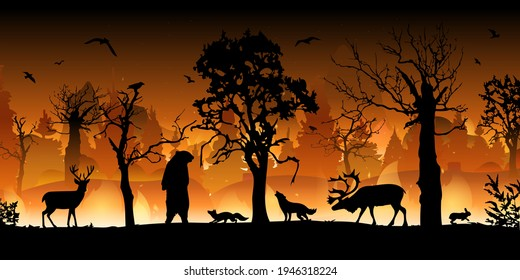 Forest fire. Burning spruces and oak trees, wood plants in flame and smoke. Forest fires in Amazon and Australia with silhouettes of wild animals.