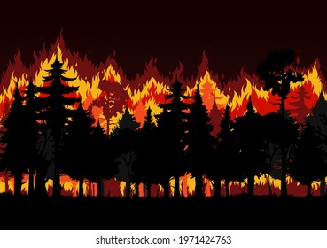 Forest fire with burning trees and smoke vector design of save environment and wild natural disaster. Wildfire or bushfire nature background of wood landscape with trees, red fire flames and sparkles