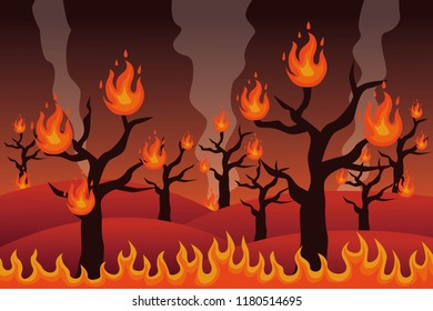 Forest fire disaster vector illustration