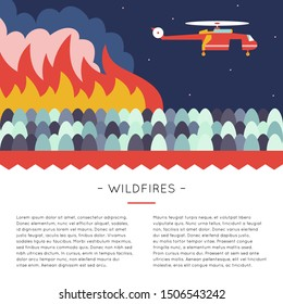 Forest fire. Emergency scene with helicopter over the wildfire. Design template with illustration and place for text. Web and print layout.