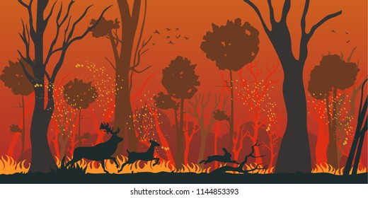 Forest Fire Flat Vector Concept with Deers and Hare Rescuing From Danger, Burning Grass and Trees Silhouettes. Animals Escaping, Running from Forest or Park Engulfed by Spreading Wildfire Illustration