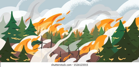 Forest fire flat vector illustration. Dangerous wildfire in Siberian taiga. Burning Russian woodland. Global warming, natural disaster. Fir trees in flame and smoke in air. Dry woods, pines in fire.