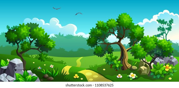 Forest with flowers and trees. Vector landscape panorama.