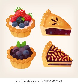 Forest fruit pies and tarts. Isolated vector images.