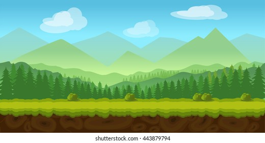 forest game background 2d  application. Vector design. Tileable horizontally. Size 1024x512. Ready for parallax effect