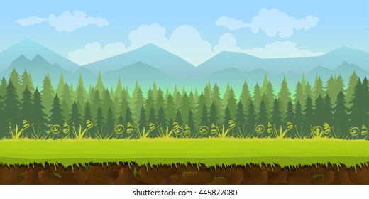 forest game background 2d application. Vector design. Tileable horizontally. Size 1024x512.