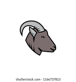 a forest goat head logo for sports logos, emblems and illustrations