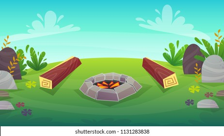 forest grass field bbq grill background . stone brazier barbeque with fire coal , wood seat trees and bushes , stones at meadow , summer or spring bright happy funny vector illustration