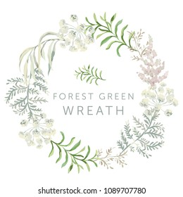 Forest green leaves wreath. Wedding greenery circle frame. Foliage, fern. Vector illustration. Floral arrangement. Design template greeting card. Invitation background.