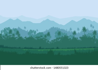 Forest green nature Illustration landscape vector