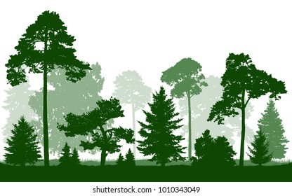 Forest green silhouette vector, isolated on white background. Trees, firs, christmas tree, spruce, pine, birch, oak, bushes.