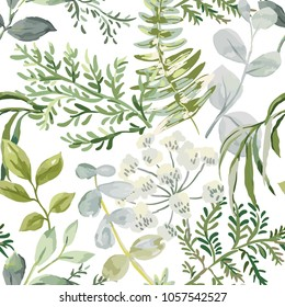 Forest greenery. Vector seamless pattern. Green leaves, fern on the white background. Floral print. Nature illustration.