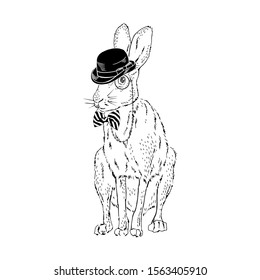 Forest hare wear bowler hat, tie bow, monocle. Bunny dressed up in vintage style. Realistic hand drawn vector illustration isolated on white.