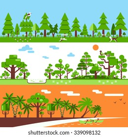 Forest horizontal banners include deciduous trees gum pine coconut palm hare bird grass  flat vector illustration