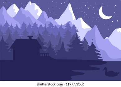 Forest house in the night coniferous forest near the mountains under moon. Vector
