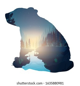 The forest inside the bear. Silhouette of a bear. Inside a mysterious night forest with the moon and flying birds. Good for decorating postcards and t-shirts. Vector illustration isolated.
