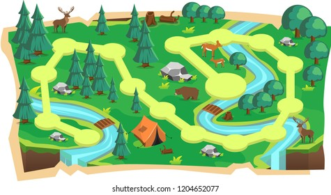 Forest Jungle 2D Game Maps with Path and Green land with Bear, Mouse Deer, Tent, Rivers, stone and Trees for Platform Vector Illustration