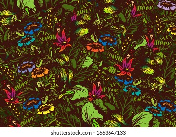Forest, jungle, flower meadow, forest thicket with various plants. Sketch. Background, wallpaper. Vector illustration