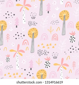 Forest. Jungle tropical seamless pattern in childish style. Different kinds of trees - hand drawn vector illustration in creative organic style. Perfect for kids fabric, textile, nursery wallpaper.