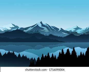 Forest and lake illustration with mountain