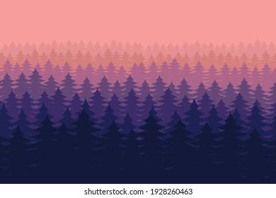 Forest landscape background vector design illustration