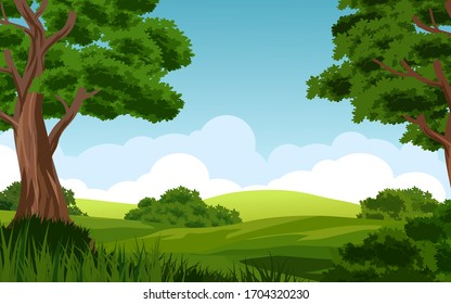 Forest landscape with cloudy blue sky