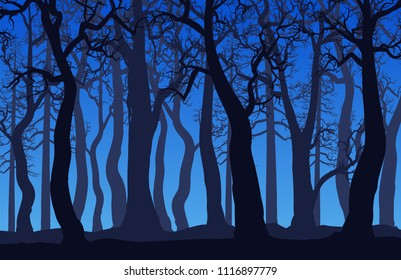 Forest landscape with dead trees at night. Vector illustration