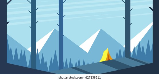 Forest landscape with mountains and a yellow tent on the hill. Summer camp vector illustration. Camping and hiking
