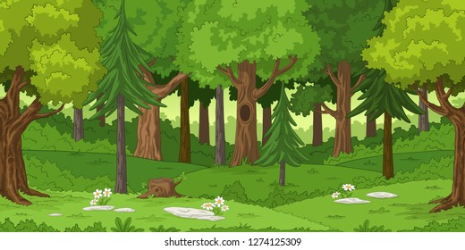 Forest landscape with stones, hand draw illustration