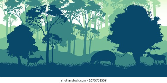 forest landscape vector with tree and mountain.vector eps 10
