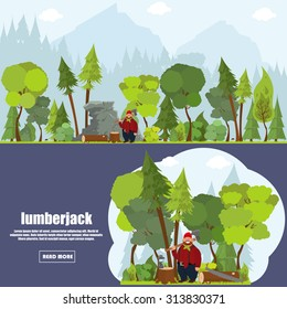 Forest landscape with woodcutter near the felled tree. banner lumberjack in a flat style. woodcutter in the forest with a felled tree illustration in a flat style.