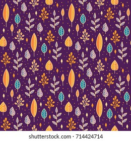Forest leaves sweet seamless vector pattern. Botanic background in colors of purple, blue and orange. Colorful doodle texture for print design