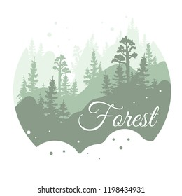 Forest logo design, nature landscape with silhouettes of trees and mountains, natural scene icon in geometric round shaped design, vector illustration