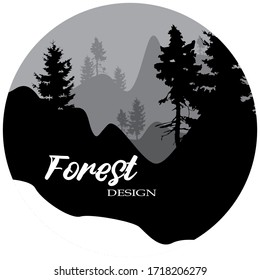 FOREST LOGO DESIGN VECTOR ILUSTRATION WITH SILHOUETTE