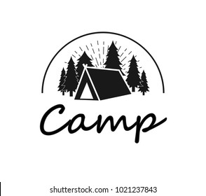 forest logo, icon. Logo about camp. outdoor adventures logo. Tourism, hiking and camping labels. Mountains and travel icon for tourism, summer leis