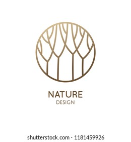 Forest logo template in linear style. Abstract outline round icon of trees, garden. Vector emblem for business design, badge for a cosmetology, farming, ecology concept, spa, health and yoga Center.
