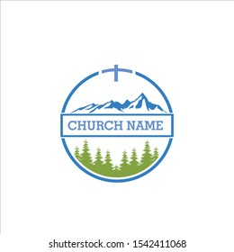 forest logos pastor logo mountain hill vector icon sign symbol christian catholic travel climbing ice ski religion religious circle green black god christianity prayer landscape camp climbing top