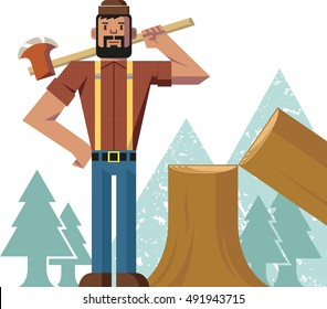 In the forest, a lumberjack holds his axe aloft and stands beside a tree that he chopped down