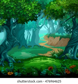 Forest of magic. Moving trees. Cartoon vector close-up illustration.