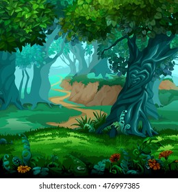 Forest of magic. Moving trees. Vector illustration.