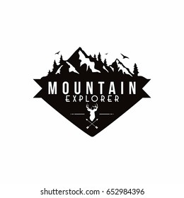 Forest, Mountain Adventure, Deer Hunter Black And White Badge Vector Logo, Sign, Icon Template