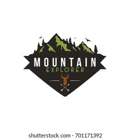 Forest, Mountain Adventure, Deer Hunter Badge Vector Logo,Sign, Icon Template