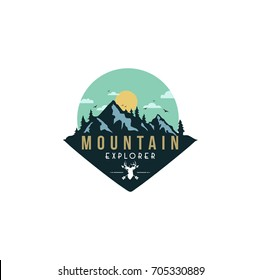 Forest, Mountain Adventure, Deer Hunter Badge Vector Design Logo, Sign, Icon Template