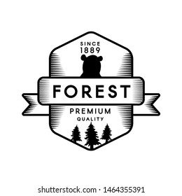 Forest Mountain Camp Geometric Art Logo Design. Nature Landscape Tree Silhouette, Bear Black and White Icon. Expedition Scout Club Graphic Lable Template. Flat Cartoon Vector Illustration