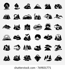 forest and mountain icon. vector hand drawn set