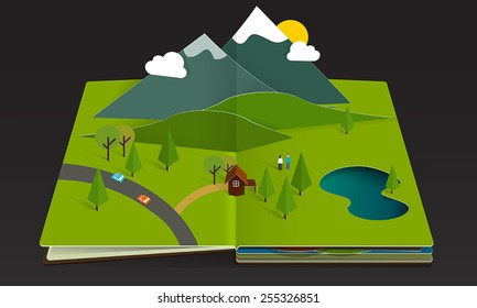 forest and mountain pop-up book