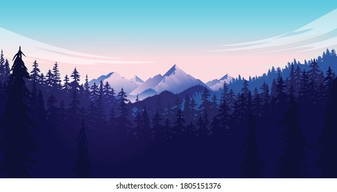 Forest and mountain vector illustration. Adventurous nature landscape scene with clouds, mountain and trees. Great for background and wallpaper.