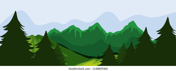 Forest and moutain scene illustration