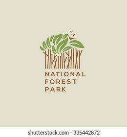 Forest national park logo. Outdoor activity, camping and nature exploration symbol, vector illustration.